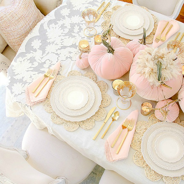 Pink Pumpkin Fall Tablescape