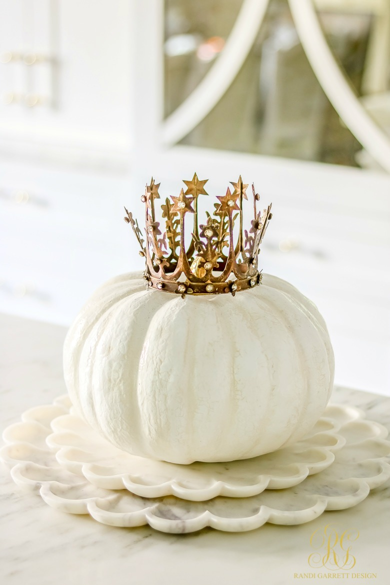 Glam Halloween Decor Ideas that can Transition into Fall - white pumpkin with crown