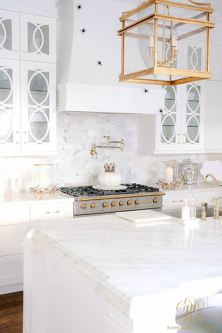 simple elegant Halloween decorating ideas - glam white kitchen