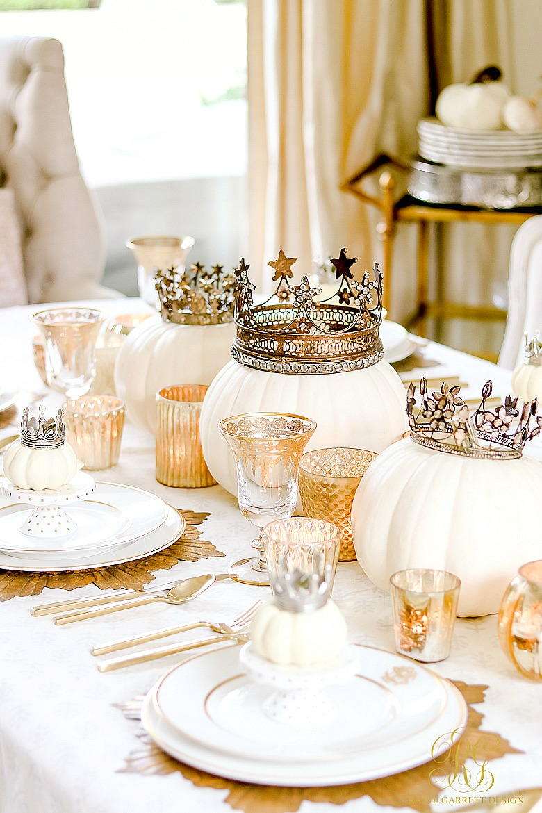 Glam Halloween Decor Ideas that can Transition into Fall - glam fall table