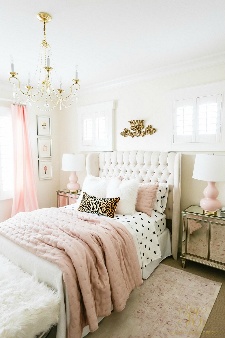 stylish tween girl bedroom - pink gold bedroom
