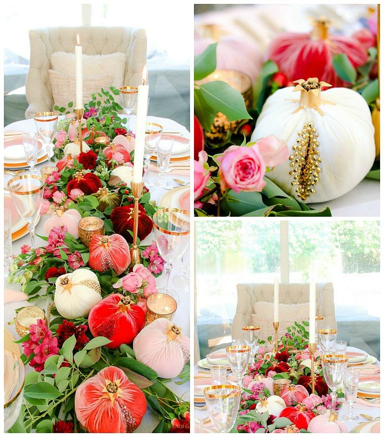 pink gold thanksgiving table - velvet pomegranates - glam table