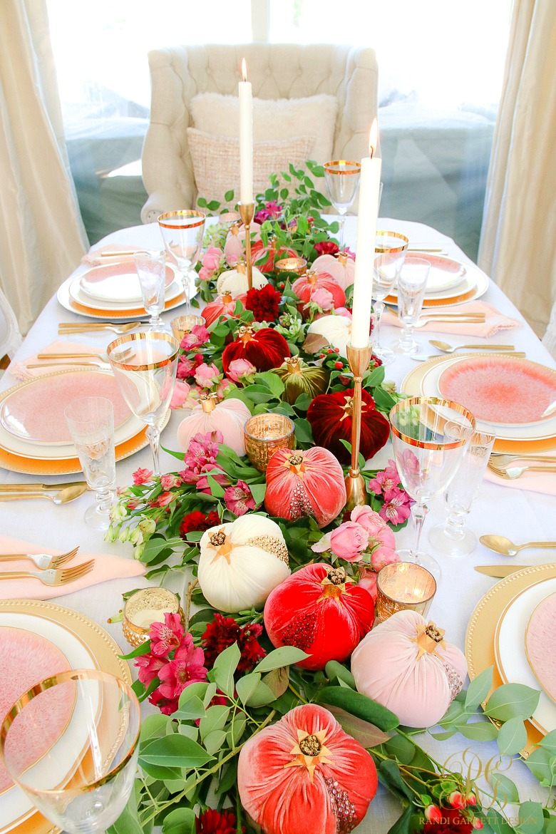 beautiful table ideas - velvet pomegranate table - pink gold dining room