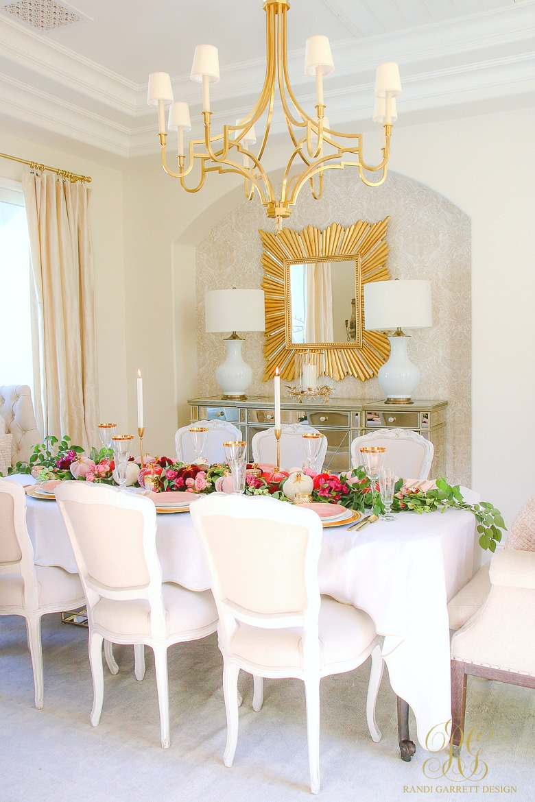 Elegant pink and gold dining room - thanksgiving table ideas