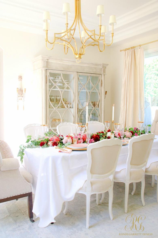 elegant dining room styled for thanksgiving