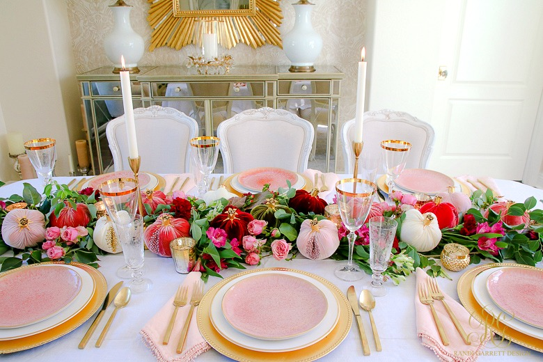 beautiful pink gold thanksgiving table - elegant dining room