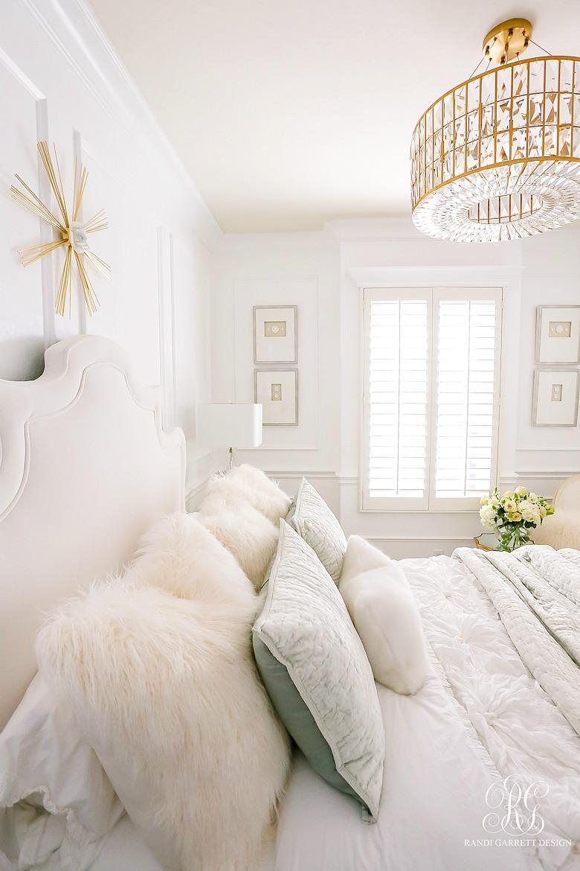 glam bedroom - intaglios - crystal brass chandelier