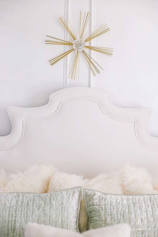 glam bedroom - sunburst art - velvet bedding