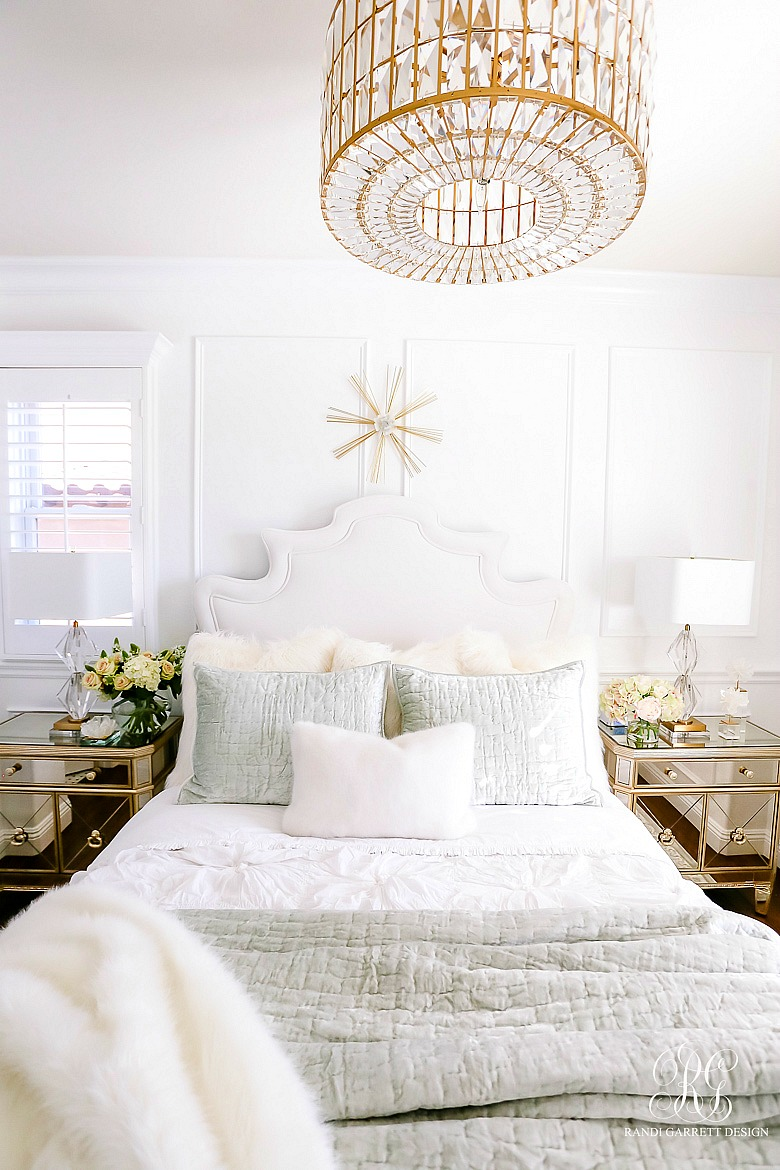 lux white gold guest bedroom - mirrored furniture
