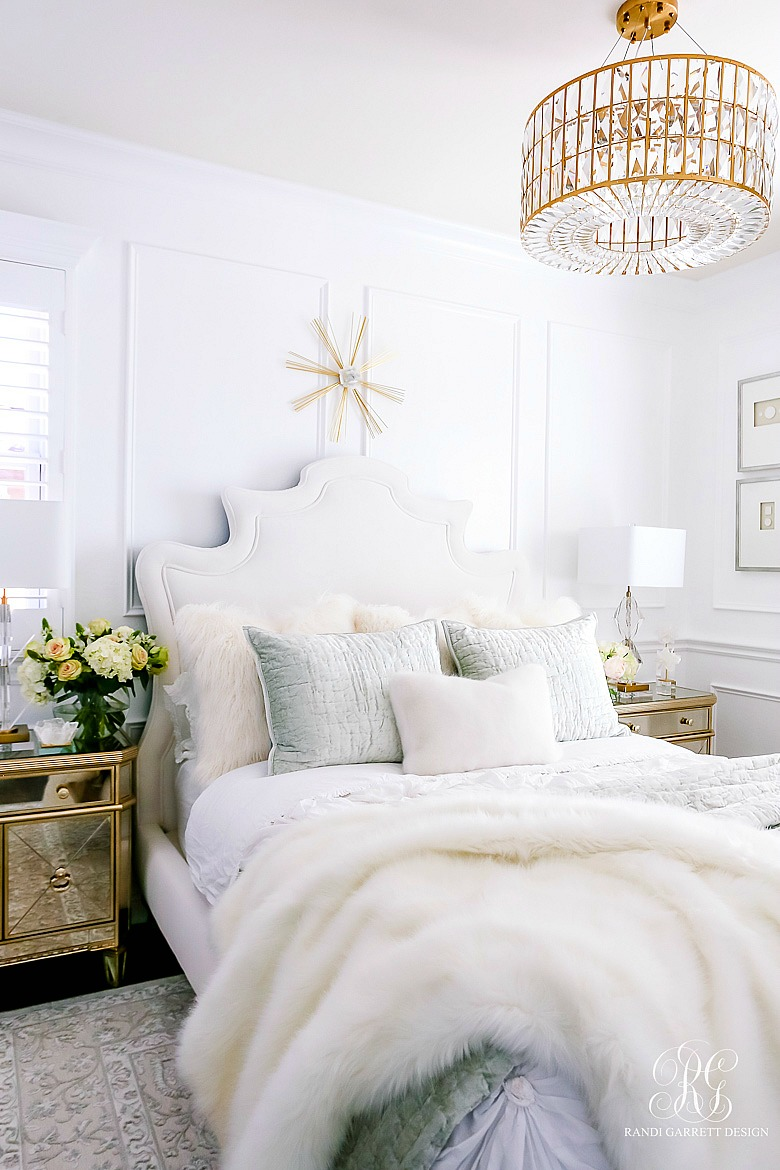 Beautiful Glam bedroom with luxurious velvet bedding and crystal details