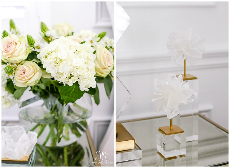 rose and hydrangea floral arrangement with selenite blossoms stands