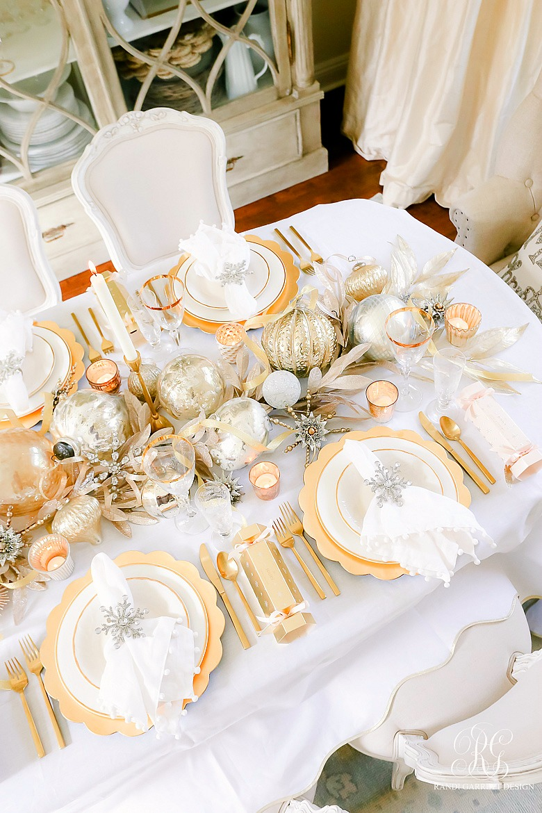 3 Tips to Set a Magical Silver and Gold Christmas Table - ornaments centerpiece