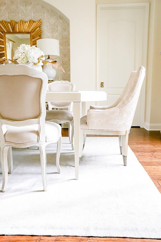 white glam dining room