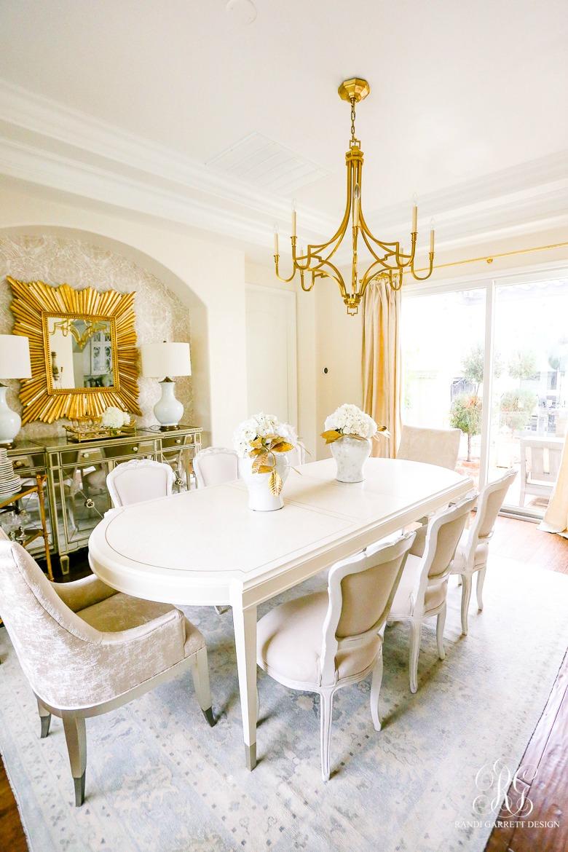 glam white gold dining room