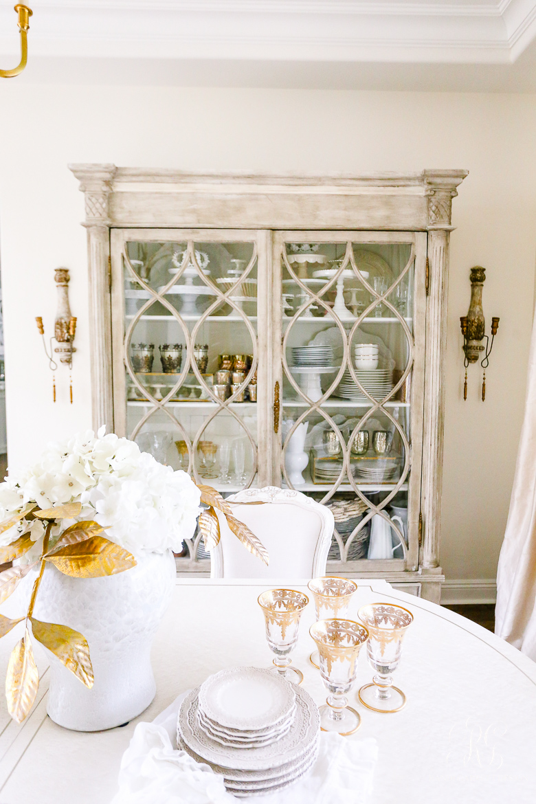 glam china hutch - transitional dining room