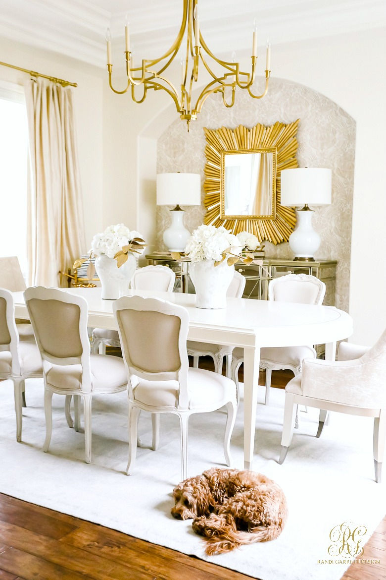 white gold dining room
