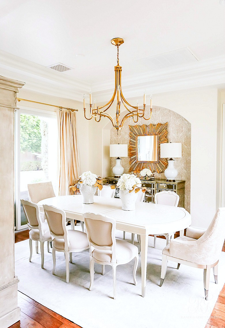 Caracole feast your eyes dining table - white gold dining room