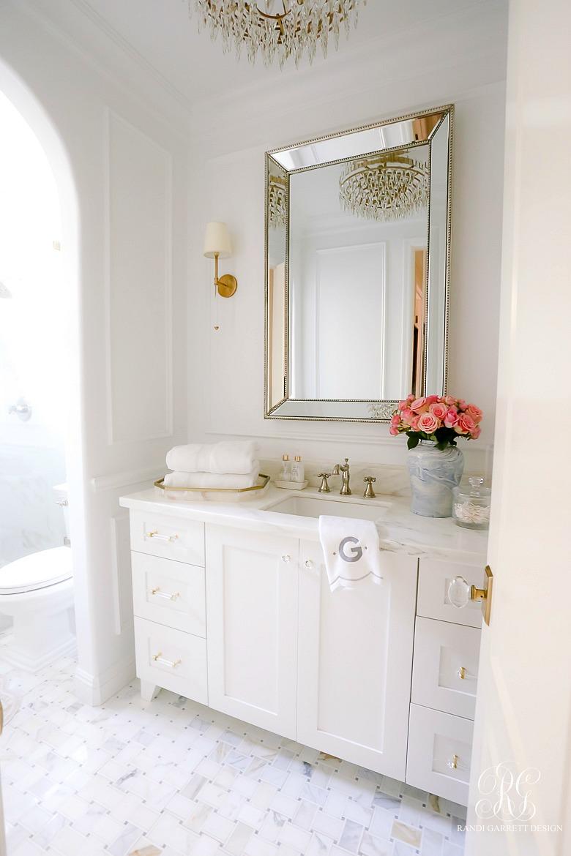 white marble powder bathroom
