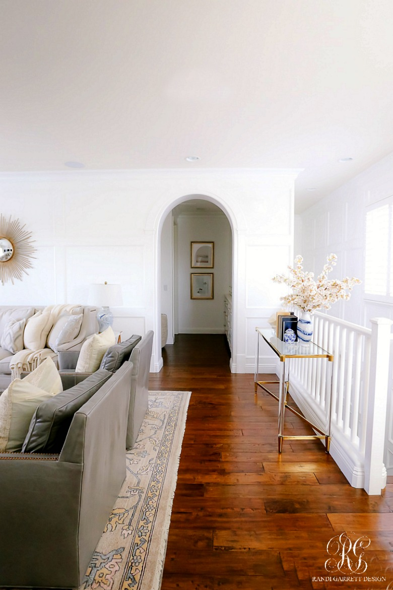 white wainscoting family room
