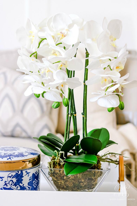 faux orchid arrangement - tips for spring decor