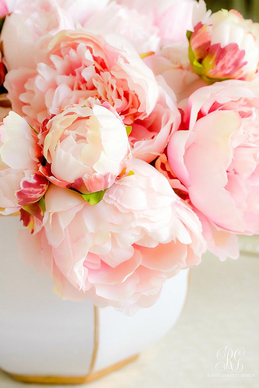 pink peonies white gold vase
