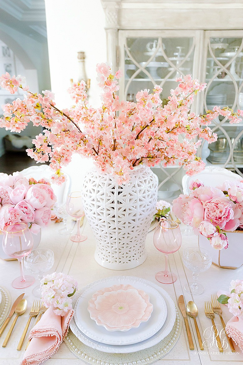 pink cherry blossoms white ginger jar easter table ideas