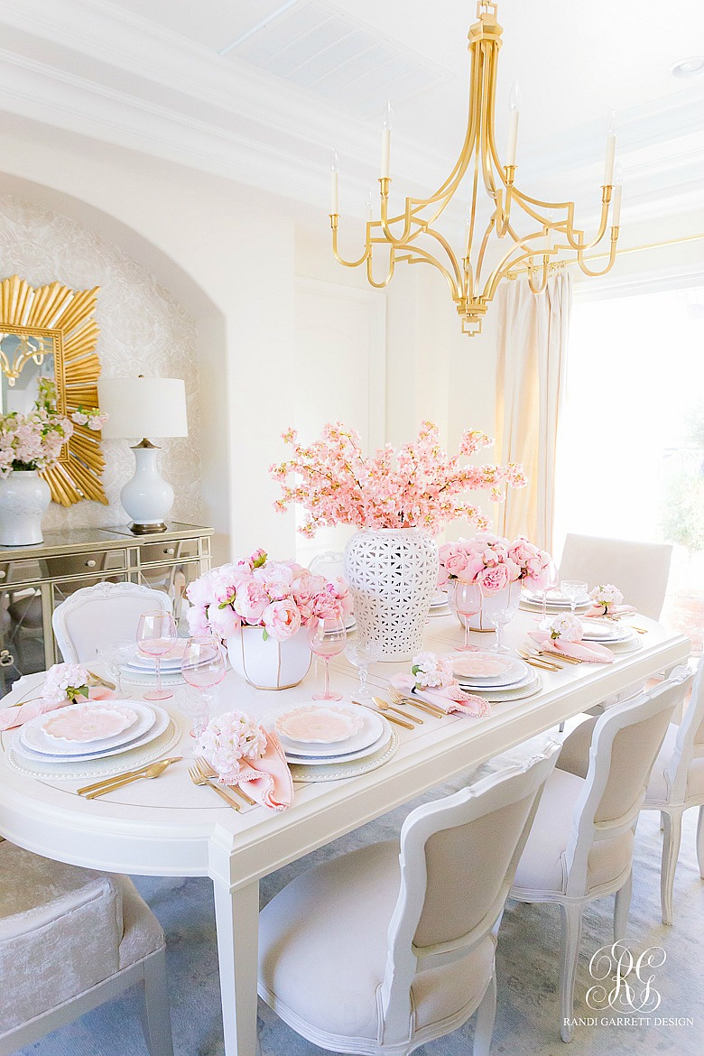 spring pink table pink peonies cherry blossoms