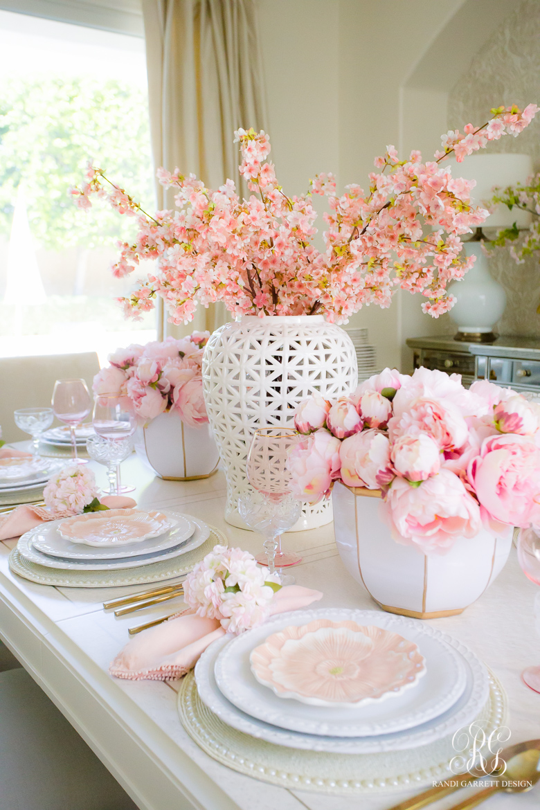 pink cherry blossom pink peony table