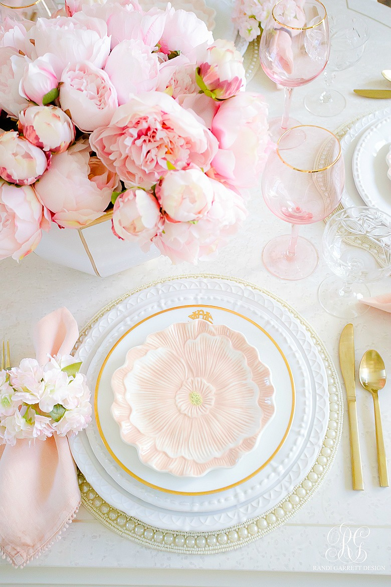 beautiful easter table pink peonies