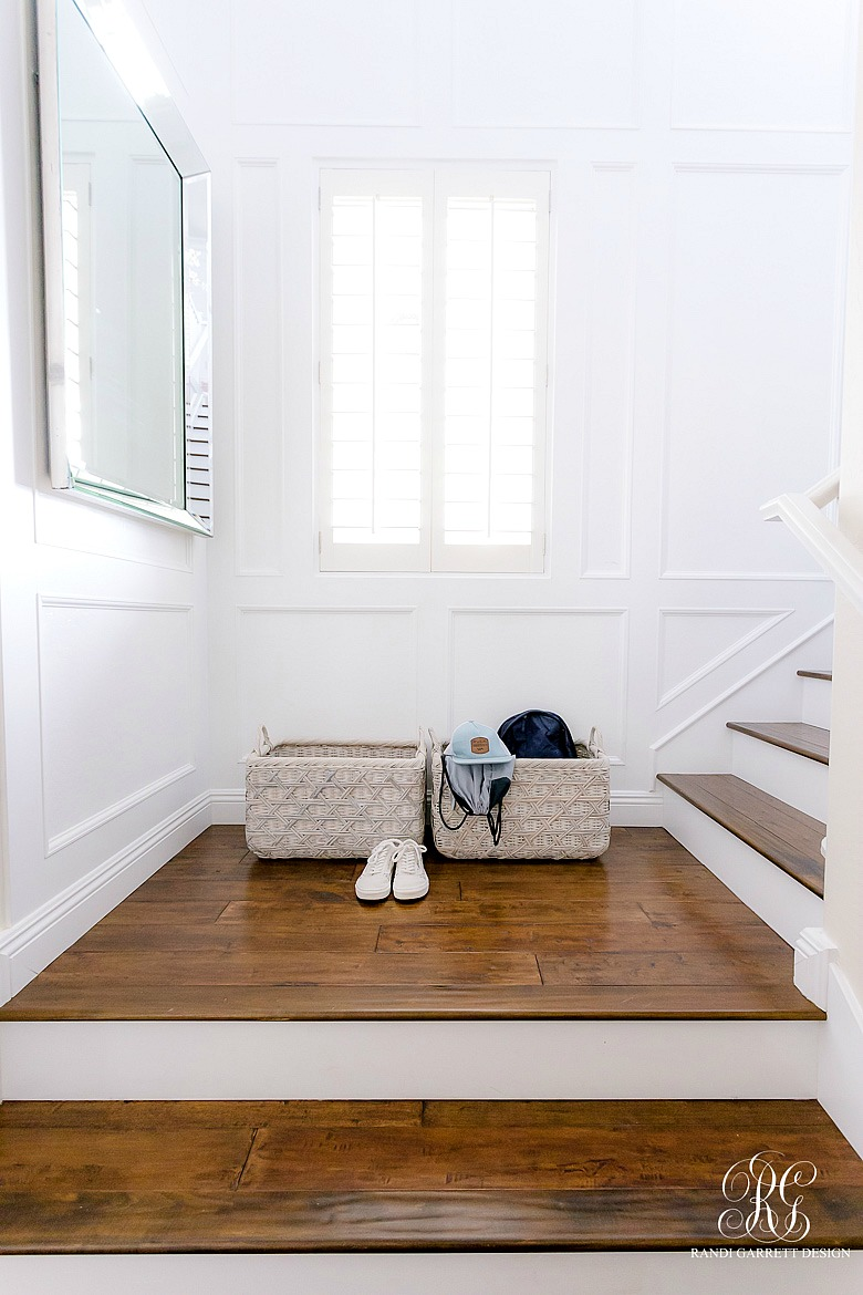 wood stair white risers