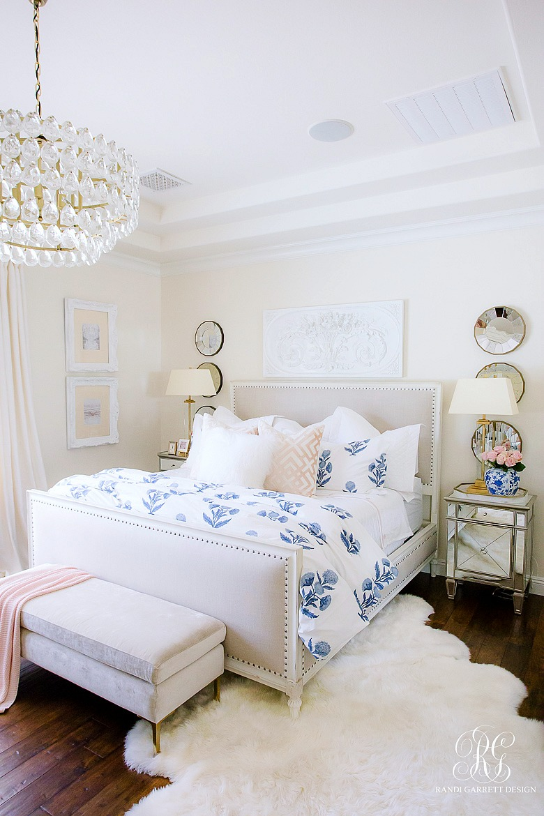 glam bedroom - blue and pink summer bedroom