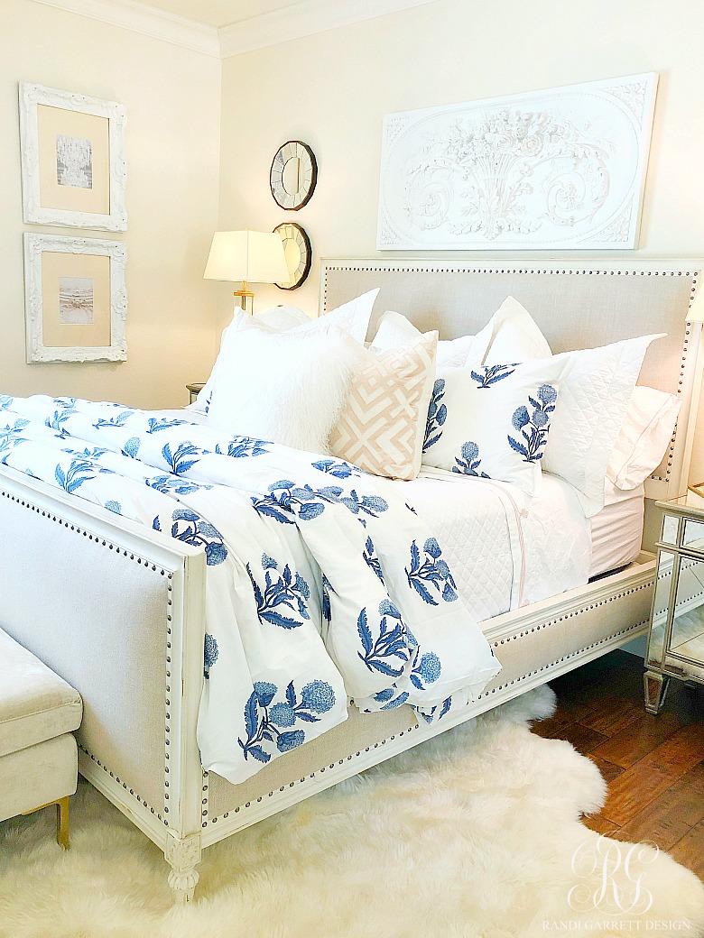 blue pink and white bedroom  randi garrett design