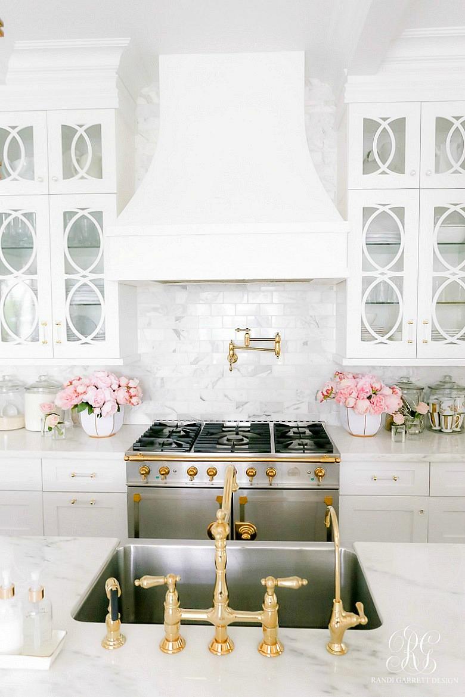glam white kitchen - gold details