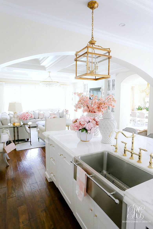 gold lantern - glam white kitchen