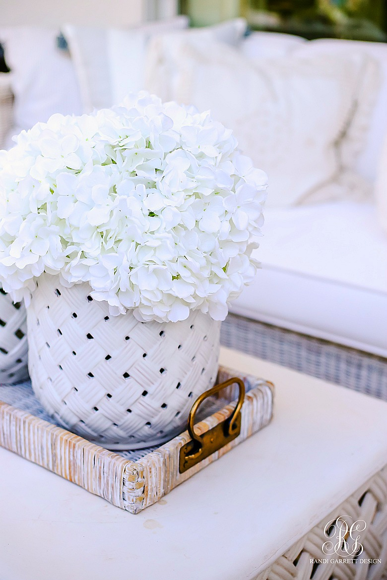 white hydrangea basketweave jar - wicker tray