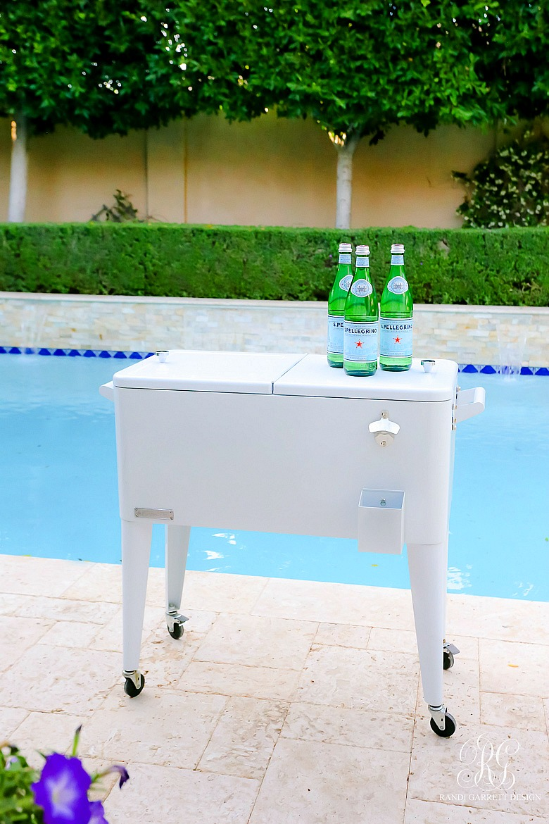 white drink cooler - backyard styling tips