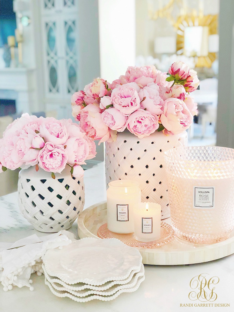 pink peonies white candles