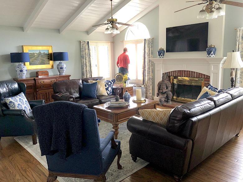 elegant blue living room - white fireplace