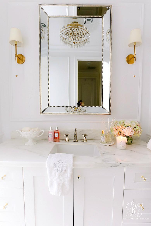 glam white bathroom marble countertops