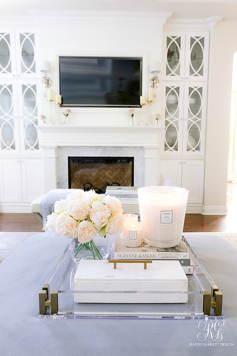 beautiful family room - white fireplace - builtins