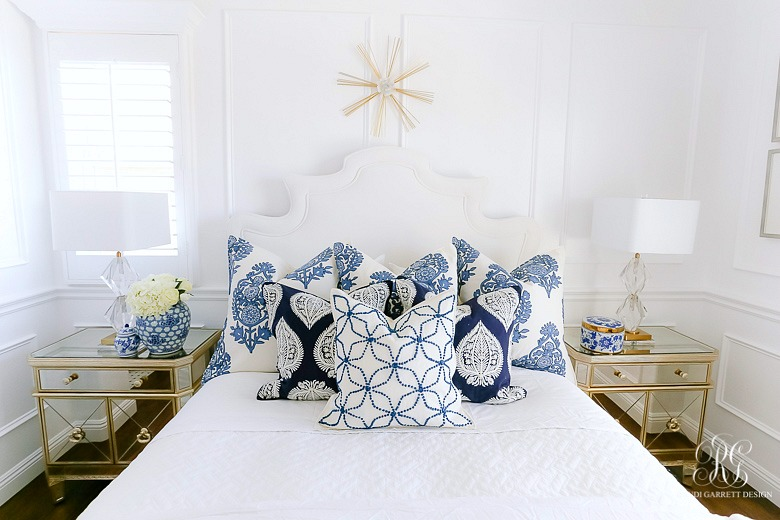glam blue and white bedroom - pretty bedroom