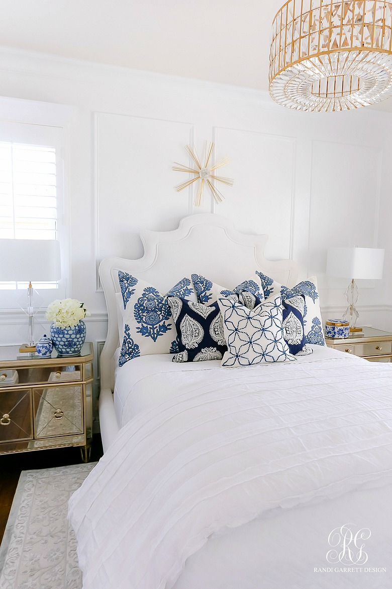 blue and white summer bedroom