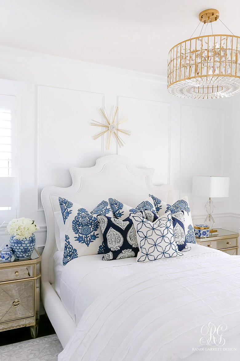 blue and white bedroom - glam bedroom