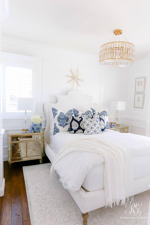 blue white glam elegant bedroom