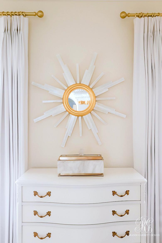 sunburst mirror - marble box - glam home office