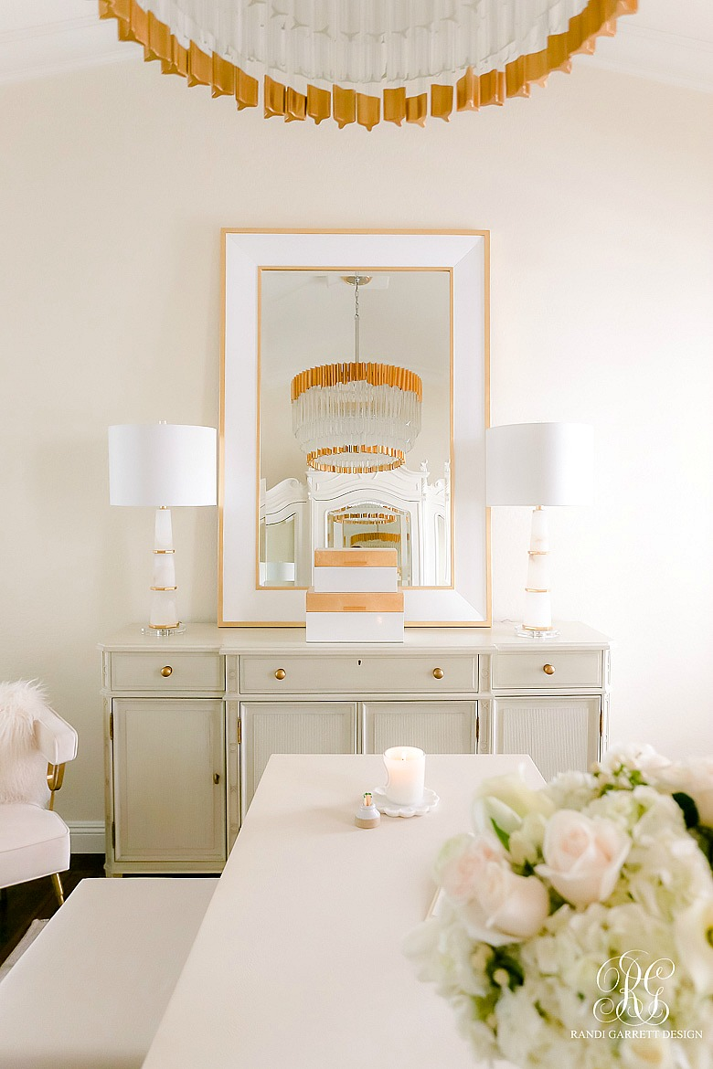 white and gold glam office