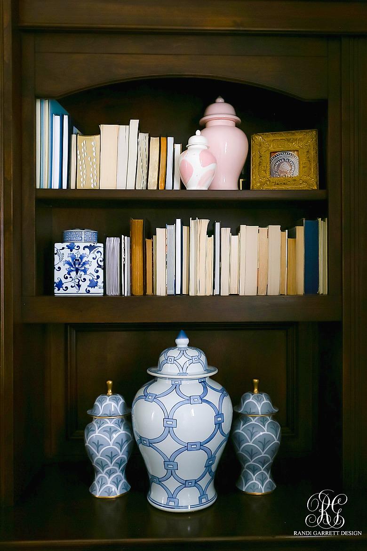 bookshelf styling - glam ginger jars