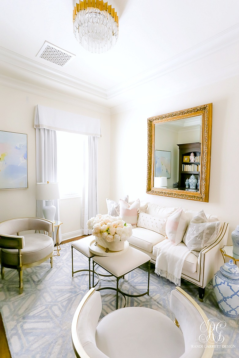 glam den - white couch - transitional decor