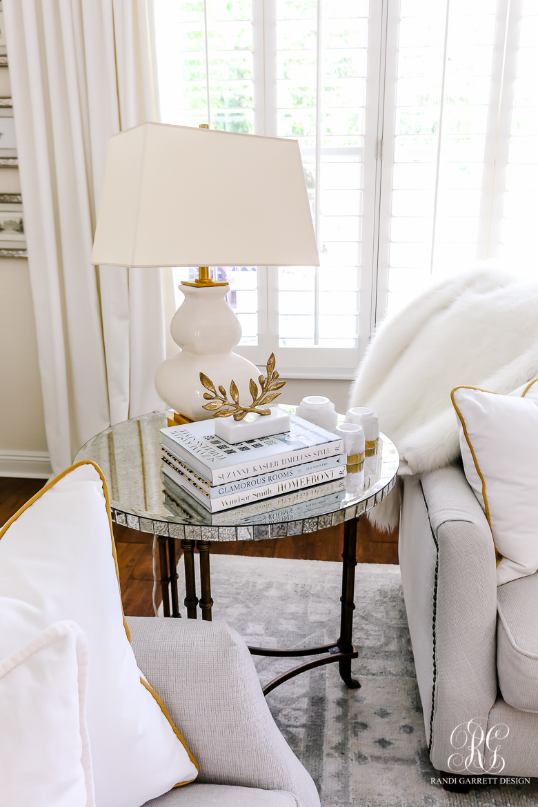 glam family room mirror side table