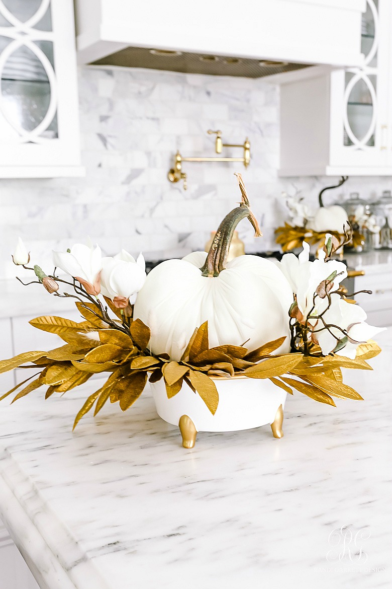 white gold fall centerpiece
